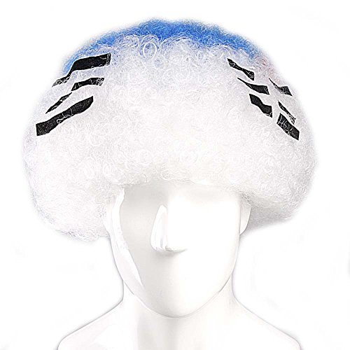 South-Korea National Team Country Flag Afro Cosplay Party Costume Wig, -