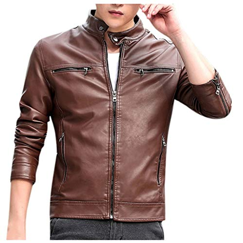 Halloween Coffee Puns (Men Winter Leather Jacket Tops Biker Motorcycle Zipper Long Sleeve Coat Blouses)