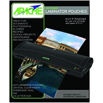 Apache Laminating Pouches, Letter Size, 100 Pack, 5 mil