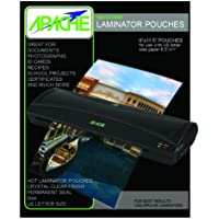 Apache 100 pack of Letter Size 5 MIL (9 x 11.5 Inches) Crystal Clear Universal Thermal Laminating Pouches