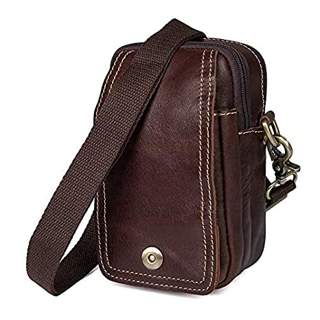 44c7c556b354 Amazon.com: XIAOF-FEN Men's Shoulder Bag Leather Retro Waist Bag ...