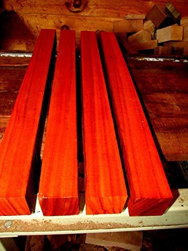 4 Piece of KD Exotic African PADAUK Turning Block Lathe Wood Blank Lumber 2 x 2 x 24
