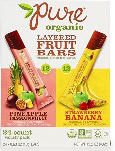 Real Fruit Snacks - Pure Organic Layered Fruits 24 cts. (Pineapple PassionFruit & Strawberry Banana)