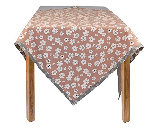 otton Flower Square Tablecloth, Brown; 60 in. x 60 in. ()
