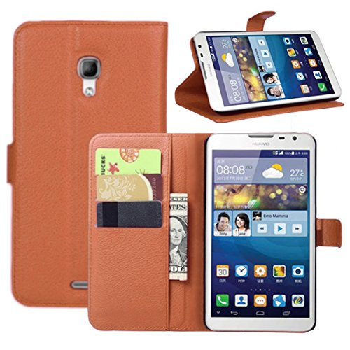 Huawei Mate 2 Case, Fettion Premium PU Leather Wallet Flip Phone Protective Case Cover with Card Slots and Magnetic Closure for Huawei Ascend Mate 2 Smartphone (Folio - Brown) (Huawei Ascend Mate 2 Wallet Case)