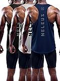 Neleus Men's 3 Pack Dry Fit Muscle Tank Workout Gym Shirt,5031,Black,Navy,Grey,L,EU XL