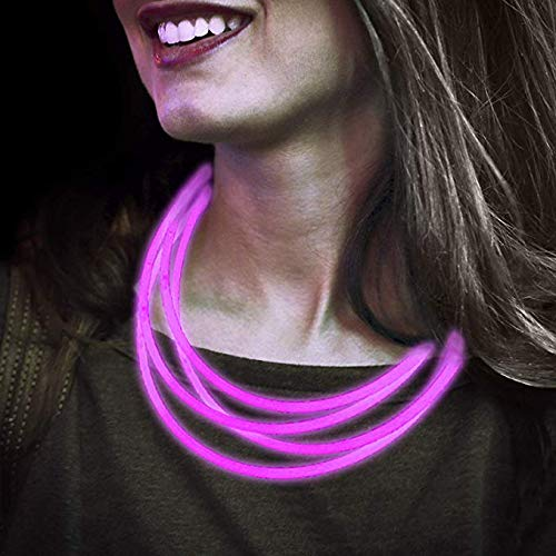 Lumistick 22 Inch Premium Glow Stick Necklaces with Connectors | Safe & Non-Toxic Light Up Glowsticks Eye-catching Super Bright | Perfect for Festivals Raves Discos & Partys (Pink, -