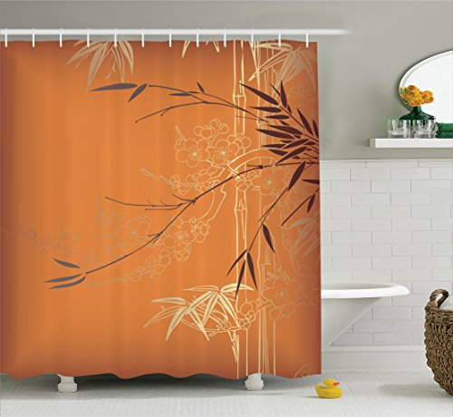 Orange Bamboo Rug - Ambesonne Bamboo House Decor Collection, Bamboo Branches and Flowers Illustration in Vivid Color Eastern Nature Theme, Polyester Fabric Bathroom Shower Curtain Set with Hooks, Orange Gold Brown
