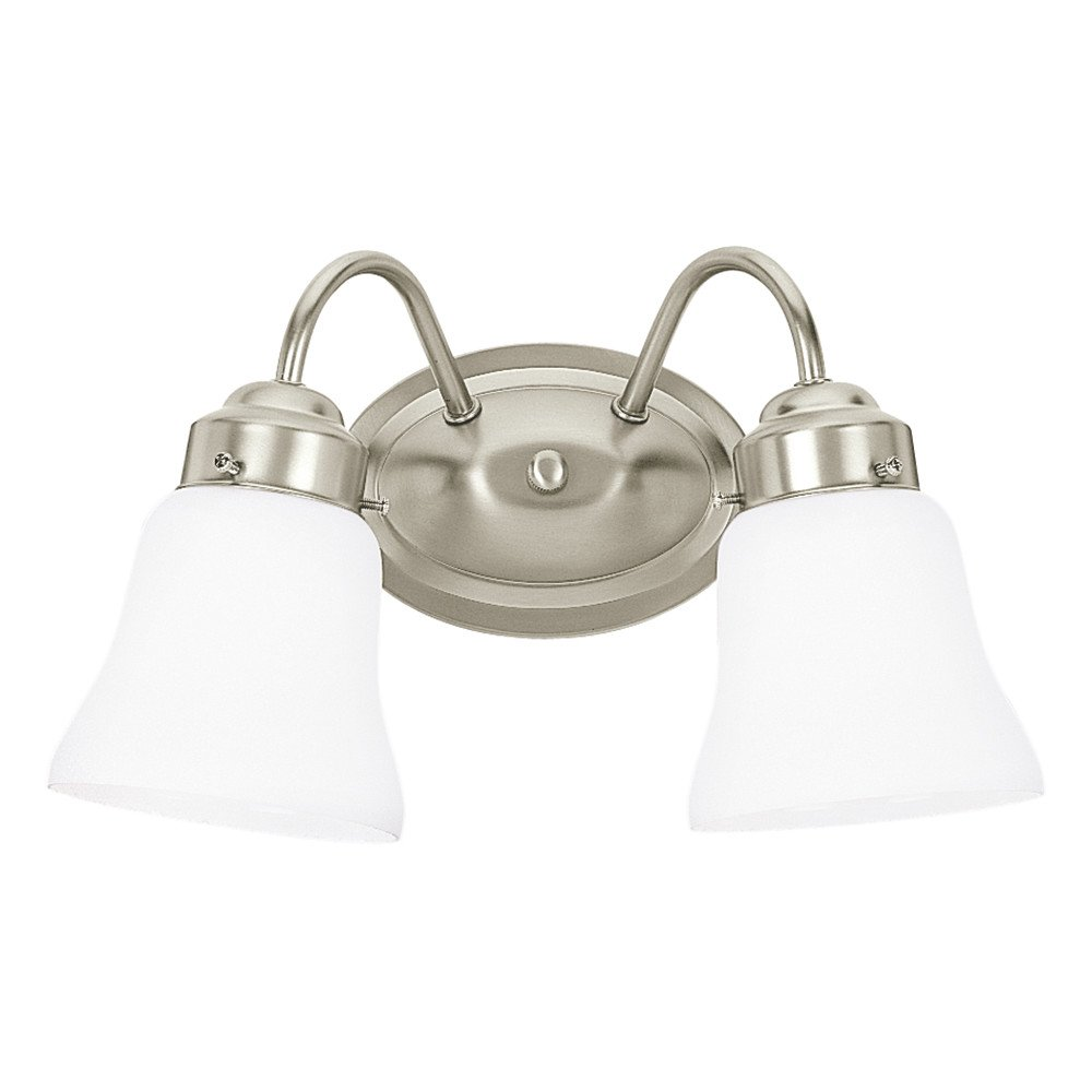 Sea Gull Lighting 44019-962 Westmont Two-Light Bath or Wall Light Fixture with Satin White Glass Shades, Brushed Nickel Finish