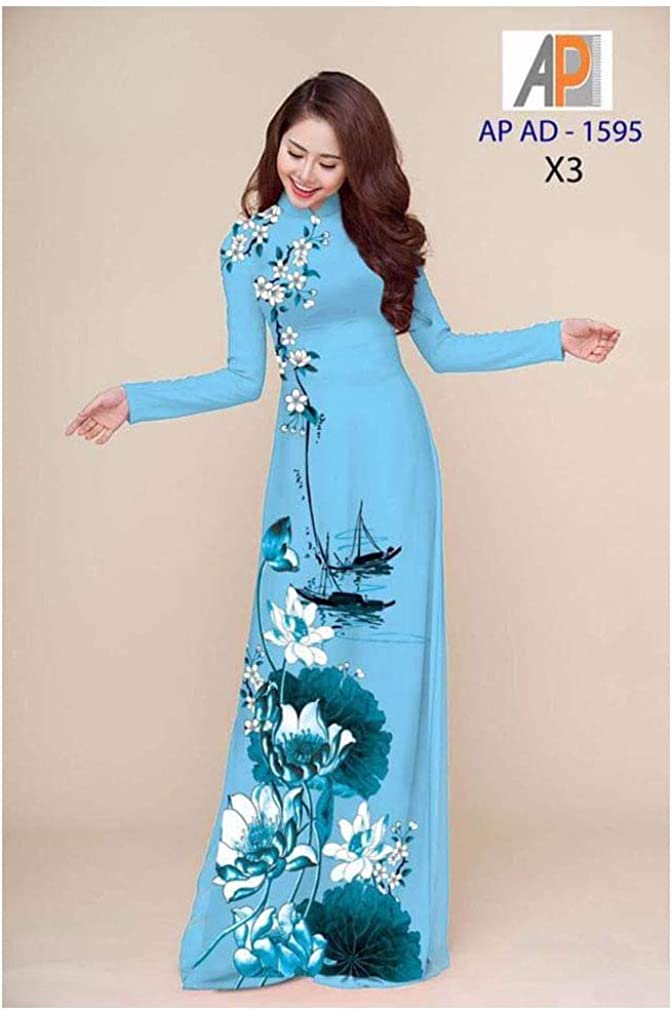 Ao Dai Silk 3D ADVN0105201968 Traditional Vietnamese Long Dress Collections with Pants