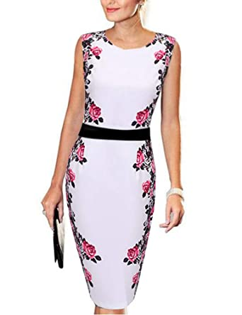 390ec52a7c FASHIONMIA Women s Work Pencil Dress Floral Vintage Sheath Fitted Office  Dresses at Amazon Women s Clothing store