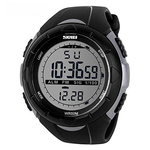 Men Climbing Sports Military Digital Watch Outdoor Chronograph Alarm Shock Resistant Waterproof-Titanium by SKMEI