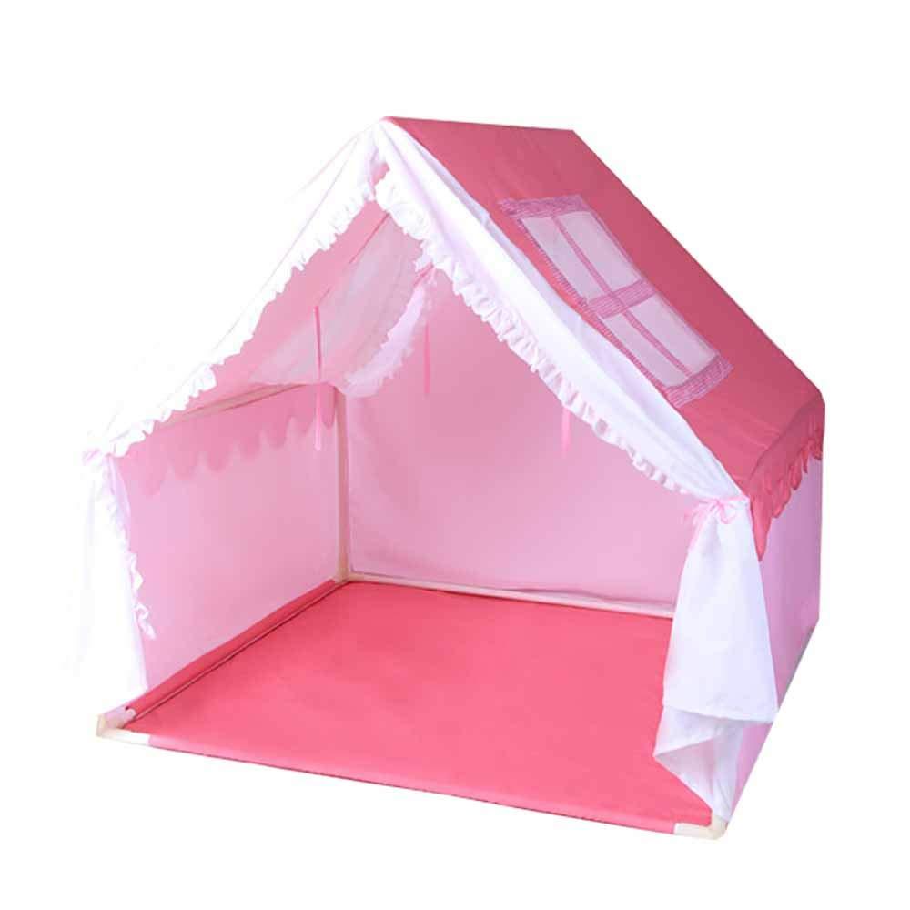 ピンクの王女の家のテント、分割型カーテン高強度ポール換気スクリーンのデザイン、通気性防蚊親子相互作用 B07P61N2Q4