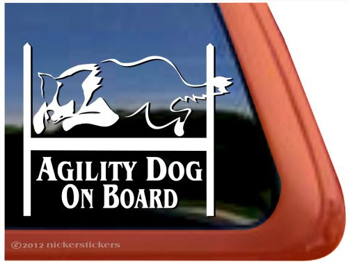 Agility Dog On Board ~ Agility Dog Agility Border Collie Vinyl Window Decal Sticker (Agility Border Collies)