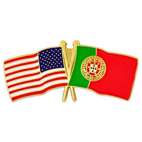 (PinMart USA and Portugal Crossed Friendship Flag Enamel Lapel Pin)
