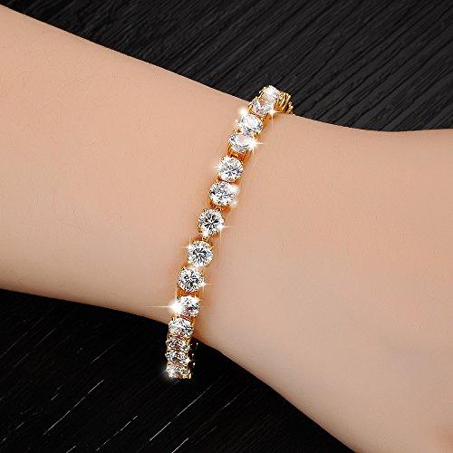 (Sinwo Women Men Hip Hop Bracelet Series Rhinestone Bracelet Chain Bling Crystal Bracelet Gift (Gold))