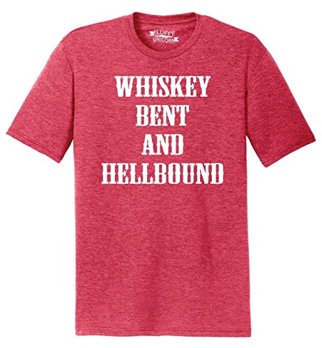 Mens Tri-Blend Tee Whiskey Bent and Hellbound Country Party Shirt Red Frost S