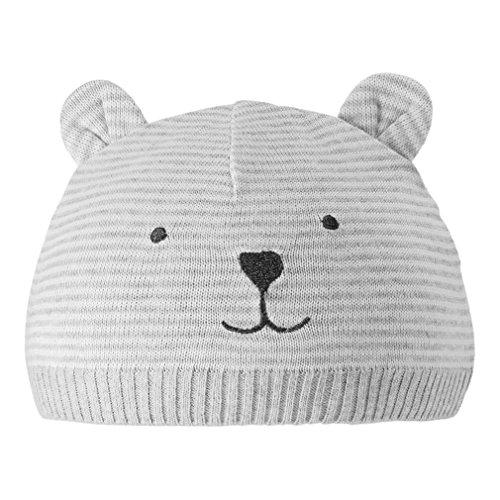 Eriso Unisex Baby Striped Bear Cap Soft Knitted Beanie Newborn Hat (0-3 Months)