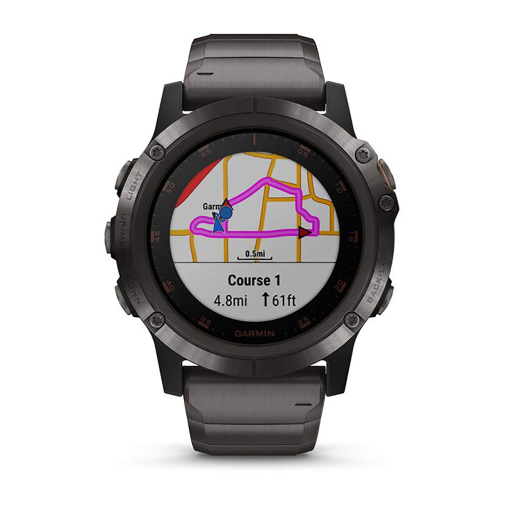 Garmin fēnix 5 Plus Premium Multisport GPS Smartwatch Features Color Topo Maps Music and Pay Titanium with Orange Band Heart Rate Monitoring