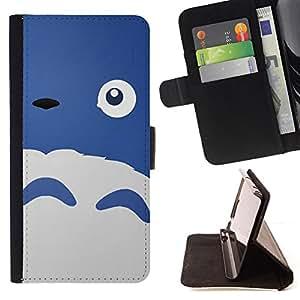 BullDog Case - FOR/LG OPTIMUS L90 / - / HAPPY CUTE MONSTER BLUE SHEEP EYE /- Monedero de cuero de la PU Llevar cubierta de la caja con el ID Credit Card Slots Flip funda de cuer