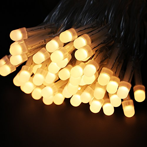 Fairy Pearl String Light Warm White,RUICHEN Waterproof Ambiance Lighting 33FT 100 LED [8mm Bulb] 8 modes with UL Adapter Indoor/Outdoor for Bedroom,Christmas Parties(Warm White)