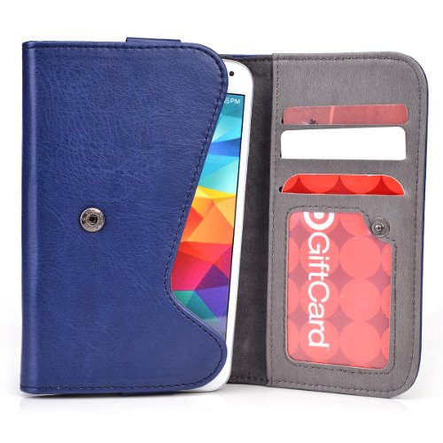 Kroo® LG Optimus Vu P895 Two-Tone Case | Blue - Grey Wallet with Credit Card Slots