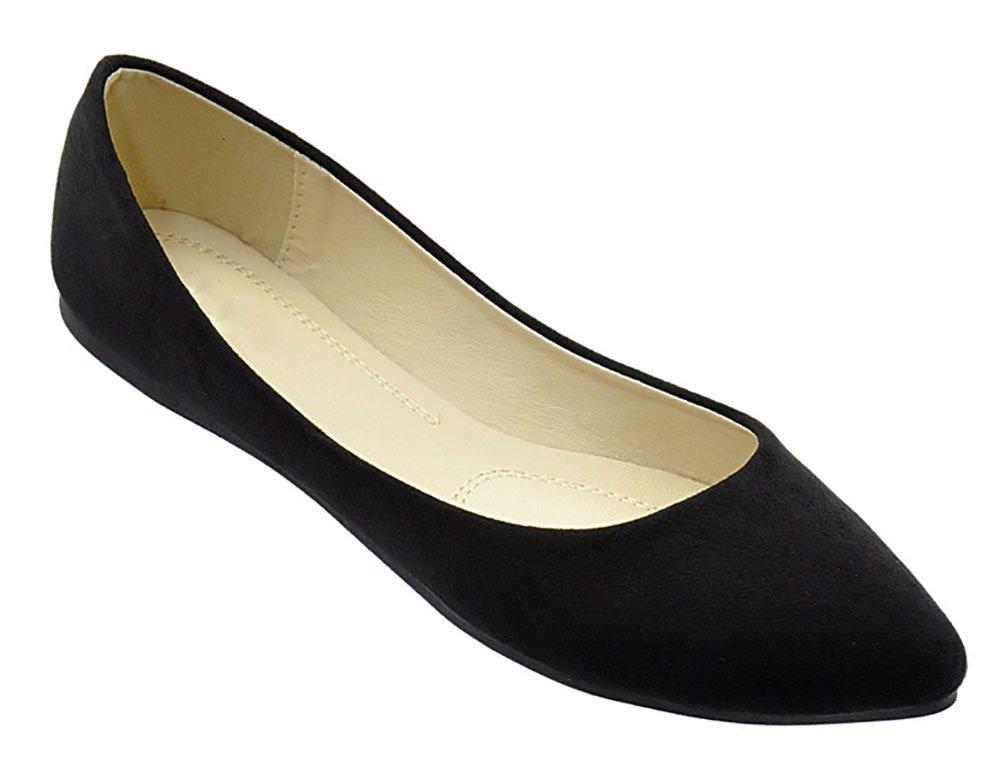 MVE Shoes Women's Classic Pointy Toe Flats, Black Size 10