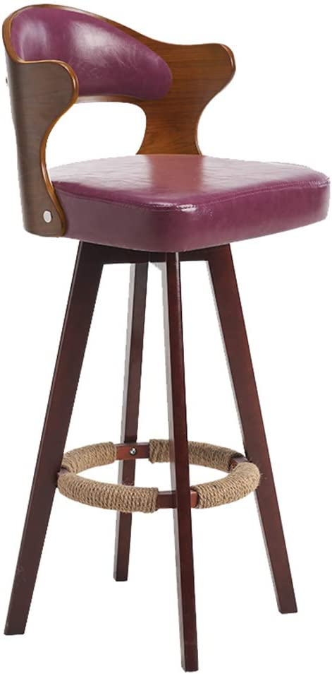 Solid Wood Bar Chair with Round Backrest,360 Degrees Swivel High Stools for Bar Milk Tea Cafe Counter Front Desk