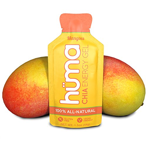 Huma Chia Energy Gel, Mangoes, 12 Gels - Premier Sports Nutrition for Endurance Exercise