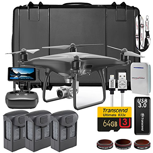 DJI Phantom 4 PRO+ (Plus) Obsidian Executive Kit w/ Custom Wheeled Case, 3 Batteries + Triple Charger Hub, Filters, 64GB Card & More