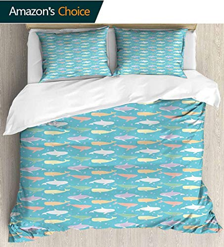 (shirlyhome Whale 3D Bedding Quilt Set,Colorful Killer and Sperm Whale Silhouettes in an Abstract Aquatic Life Themed Image Decorative 3 Piece Bedding Set with 2 Pillow Sham 68