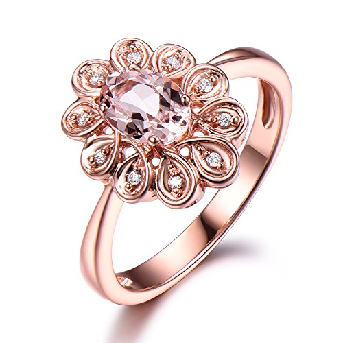Pink Morganite Wedding Ring Oval Flower CZ Diamond Halo Vintage 925 Sterling Silver Rose Gold Wedding Set by Milejewel Morganite Engagement Ring
