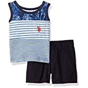 U.S. Polo Assn.. Baby Boys Tank and Short Set, Striped Tank Solid Short Aqua, 12M