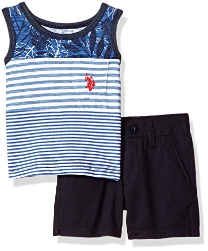 U.S. Polo Assn. Baby Boys Tank and Short Set, Leaves Print Ripstop Navy, 6-9 ()