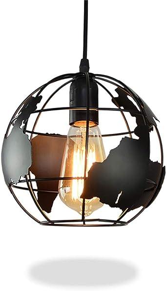 Diam/ètre 20cm Plafonnier Industriel Lumi/ère Terre En Forme De Globe Plafonnier Industriel Moderne Fixture Ombre Lustre Fer Vintage Suspendu Plafonnier E27