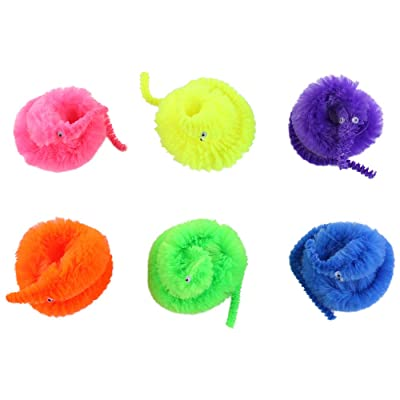 6pcs Magic Vivid Wiggly Twisty Fuzzy Worm Carnival Party Favors Toys: Toys & Games