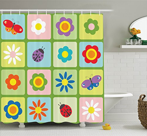 Flower Patch Collection (Ambesonne Ladybugs Decorations Collection, Flowers Tulip Butterflies and Ladybugs Patchwork Scrapbook Child Happy Clip Art, Polyester Fabric Bathroom Shower Curtain, 84 Inches Extra Long, Green Pink)