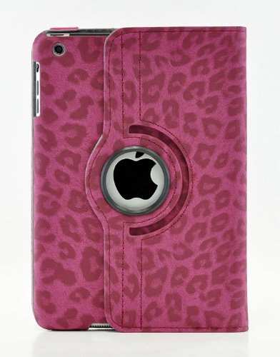 (iPad Mini 4 Case, LiViTech(TM) Leopard Design Series 360 Degree Rotating PU Leather Case Cover for Apple iPad Mini 4 (Hot Pink))