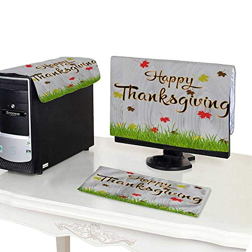 Miki Da Plastic Computer dust Cover 22''MonitorSet Hand Drawn Thanksgiving Greeting Card with Leaves on Wood Background Happy Thanksgiving Background Vector il ()