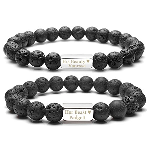 Zysta 2pcs/Set Free Engraving - Personalized Custom Lava Stone His and Hers Couple Bracelets Stretch Mens Womens Matching Bracelets by Zysta