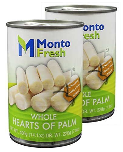 MontoFresh All Natural Whole Hearts Of Palm | 2-Pack 14.1oz Canned Palm Hearts for Salad & Dressing | Nutritional Value Palmitos, Rich in Vitamins & Minerals | Kosher, NO GMO, NO Preservatives