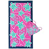3C4G Swimming Turtles Towel with Sling Bag