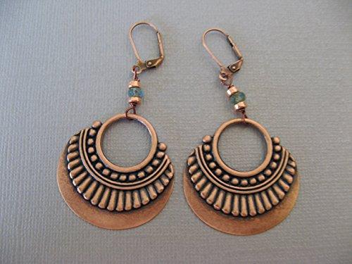 Czech Jewelry - Czech Glass Copper Plated Earrings Dangling Ornamental Hoop Boho Artisan Jewelry
