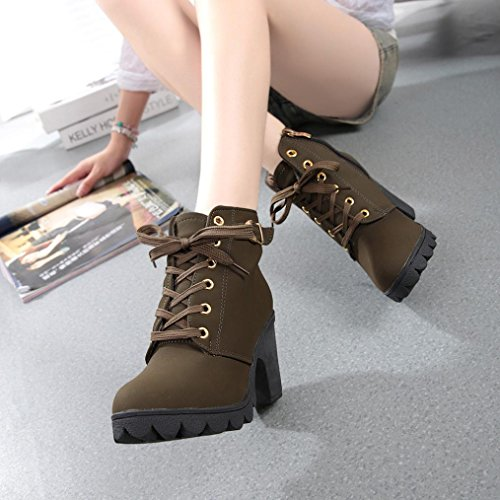 Platform Ankle Womens Heel Buckle Shoes Ladies Lace Fashion Boots XILALU High up Green Army wvqYYgB