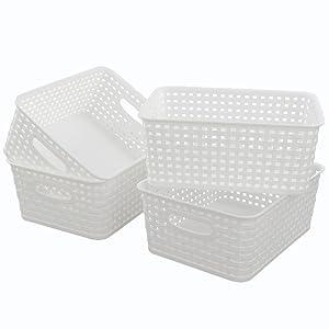 Lesbin White Plastic Weave Baskets, 4-Pack