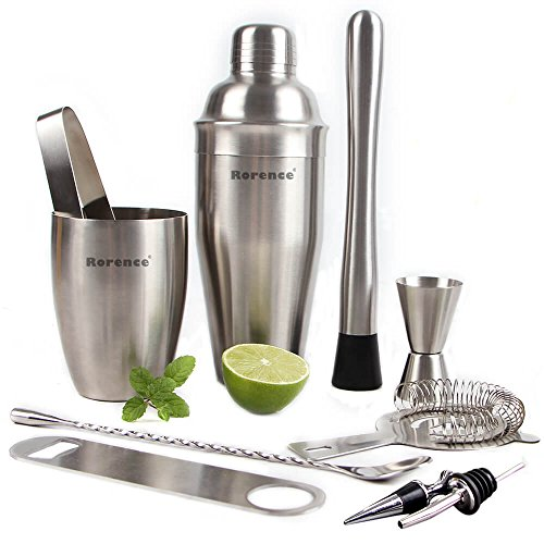 Rorence 11 Piece Stainless Steel Cocktail Bar Set -Bartender Shaker Kit Includes Cocktail Shaker, Muddler, Double Jigger by Rorence