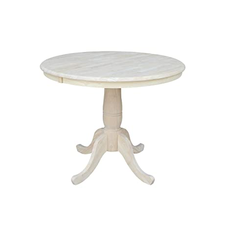 International Concepts 36-Inch Round Extension Dining Table with 12-Inch  Leaf, Unfinished