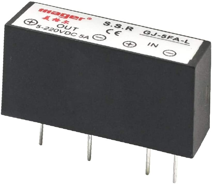 X-DREE GJ-5FA-L DC-DC high Performance 3-32V 5-220V 5A 4Pin Essential PCB Through Hole Well Made Mounting Normal Open Single Phase Rectangle SSR Solid State Relay