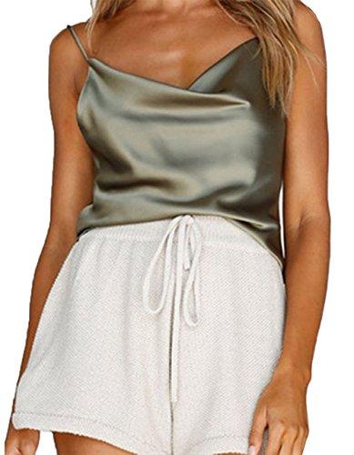 Women Sexy Spaghetti Strap Backless V-Neck Silk Satin Camisole Vest Tank Top (Green, ()