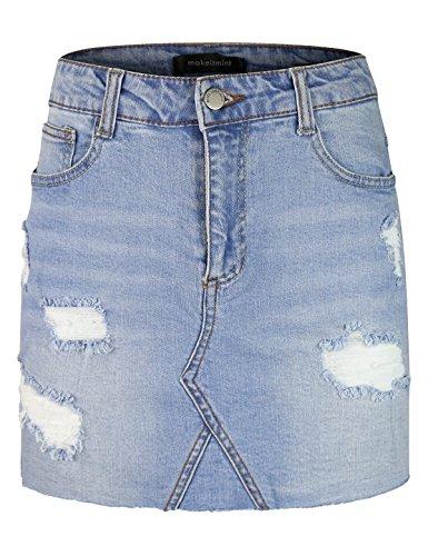 makeitmint Women's Distressed Raw Hem Denim Jean Mini Skirt w/Pockets YBSK0006-LIGHT-LRG